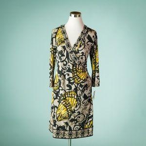 Alfani M Black Yellow Printed Faux Wrap Dress NWT